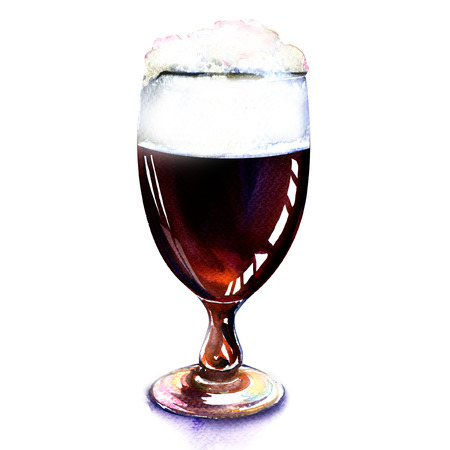 dark beer: glass of dark beer isolated, watercolor painting on white background