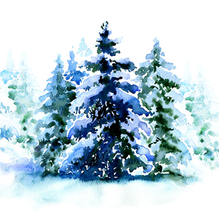 Group of christmas trees covered snow in winter isolated, watercolor painting on white background