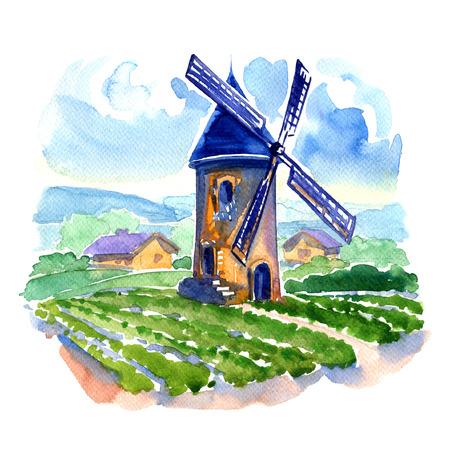 フィールドとミルは、白い背景の水彩画と農村景観