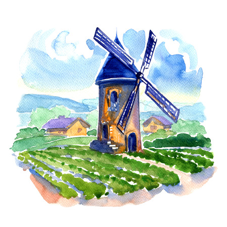 Rural landscape with fields and a mill, watercolor painting on white background Foto de archivo