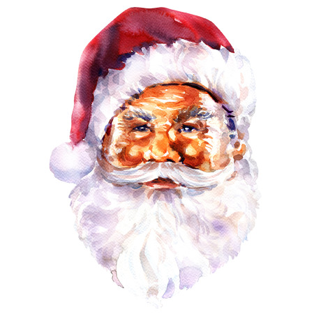 claus: face of Santa Claus isolated, Christmas card. Watercolor painting on white background