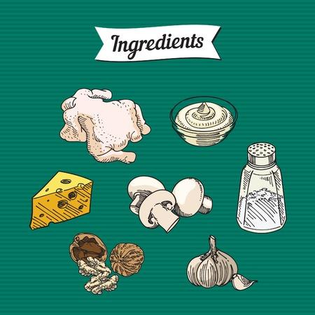 ingredients: food ingredients item illustrations, vector Illustration
