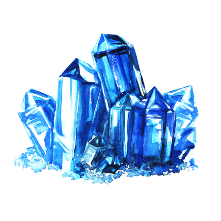 amethyst: Blue amethyst crystals stones isolated, watercolor painting on white background