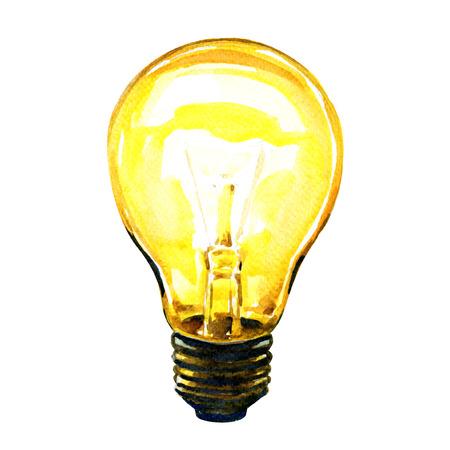 輝く黄色の電球アイデア コンセプト、白い背景の水彩画 写真素材