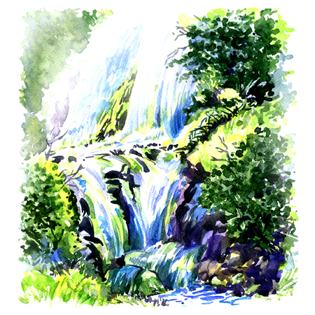 waterfall in forest: Deep forest beautiful waterfall, watercolor painting on white background Stock Photo