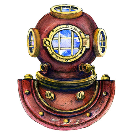 Retro vintage metal diving helmet isolated, watercolor painting on white background Foto de archivo
