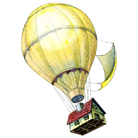 House lifted to the sky by hot air balloons. Creative concept. Standard-Bild