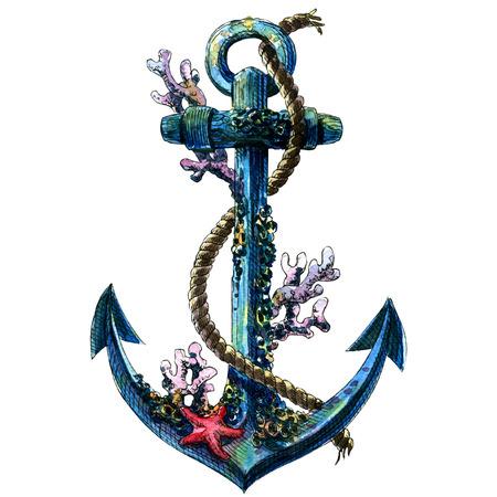 bateau: ancre vintage avec coquille, corail, objet isolé, peinture à l'aquarelle sur fond blanc
