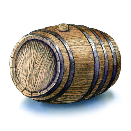 ferment: Wooden oak barrel isolated, watercolor painting on white background Stock Photo