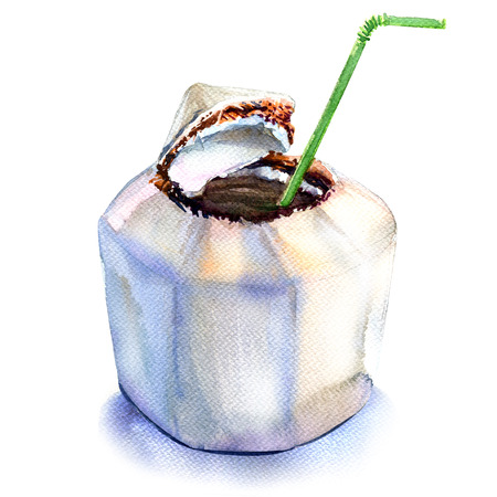 coconut water: Fresh coconut water drink with straw isolated, watercolor illustration on white