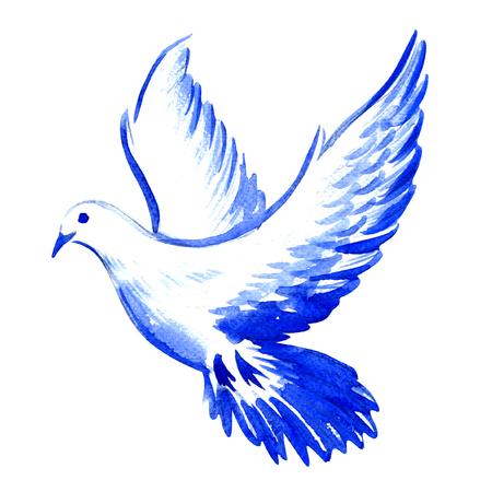 vrij vliegende witte duif geïsoleerd, aquarel illustratie op een witte achtergrond Stockfoto