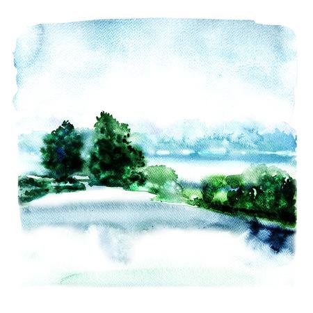 川と霧の中での森林の風景、白い背景の水彩画イラストを抽象化 写真素材