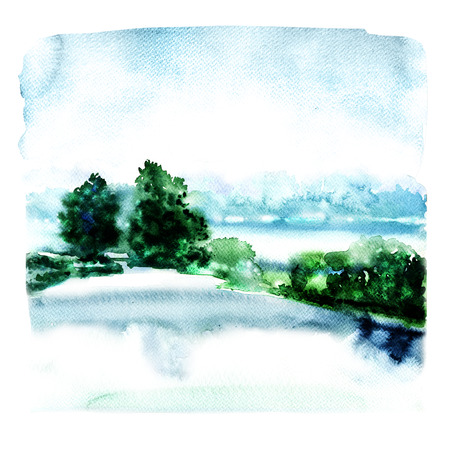 landscape with river and forest in the fog, abstract watercolor illustration on white background