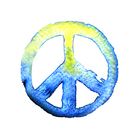 pacific: peace sign pacific, watercolor illustration on white background