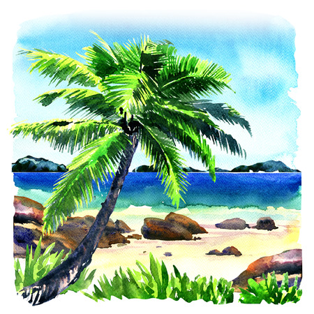 Beautiful tropical beach with coconut palm tree as relaxing place, seascape panorama, watercolor illustration on white background