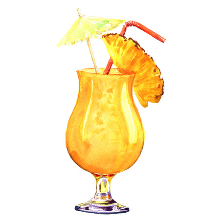 pulp: Orange refreshing cold cocktail with pineapple with pulp in a glass, isolated, watercolor illustration on white background