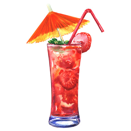 Red refreshing cold cocktail with strawberry in a glass with tube and umbrella, isolated, watercolor illustration on white background Foto de archivo