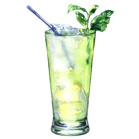rum: Tropical green alcoholic cocktail witn rum, liquor, lemon fresh, isolated, watercolor illustration on white background