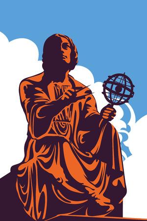 青空、ベクター グラフィック偉大な天文学者ニコラウス ・ コペルニクス ワルシャワ、ポーランドの記念碑