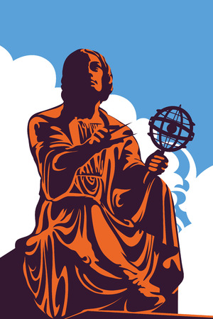 Monument, memorial of great astronomer Nicolaus Copernicus in Warsaw, Poland, against blue sky, vector illustration