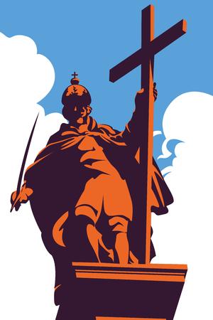 warsaw: Statue of Zygmunt III Vasa, King Zygmunts column in Warsaw Old Town, Poland, against blue sky, vector illustration Illustration