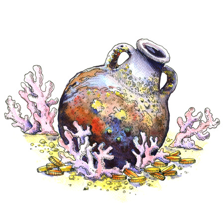 Ancient jug, amphora with coins, coral at bottom of the sea, isolated. Underwater landscape. Watercolor illustration on white background