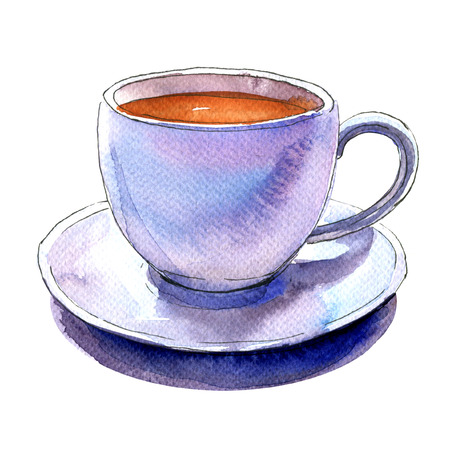 Porcelain white cup of coffee and saucer isolated, watercolor illustration on white background