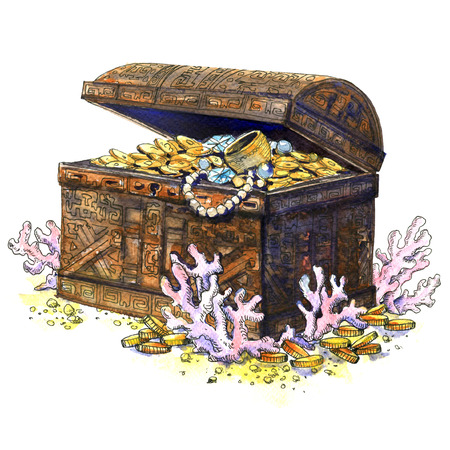treasure trove: Ancient treasure chest, coins, jewelry at bottom of the sea, isolated. Underwater landscape. Watercolor illustration on white background