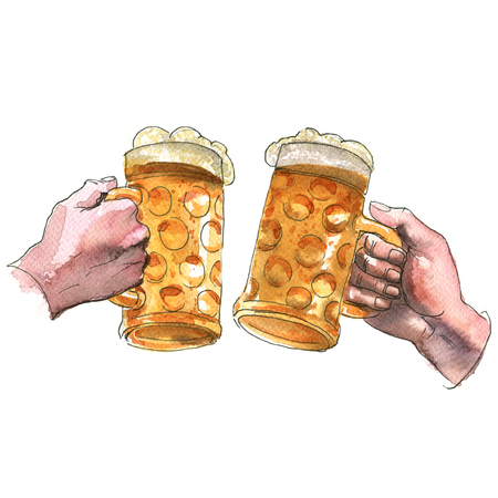 Two hands holding beer mugs making a toast, cheers, watercolor illustration on white background