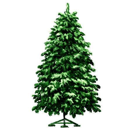 Árbol de navidad verde abeto en el soporte del metal aislado, ejemplo de la acuarela en el fondo blanco Foto de archivo