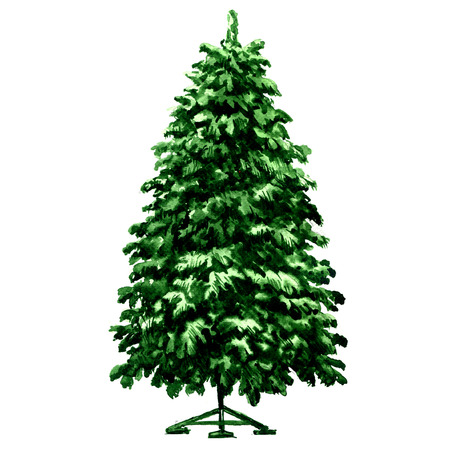 Christmas green fir tree on metal stand isolated, watercolor illustration on white background