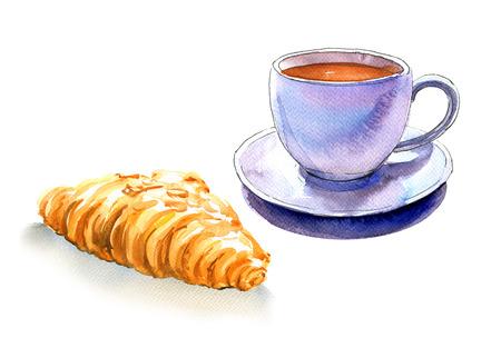 francés desayuno, taza de café y un cruasán, aislado, ejemplo de la acuarela en el fondo blanco Foto de archivo