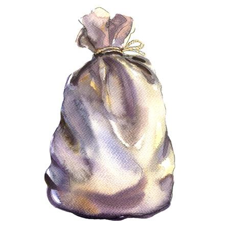 gefesselt: Textile Sack, Beutel aus einem Rausschmiß, isoliert, Aquarell-Illustration auf weißem Hintergrund