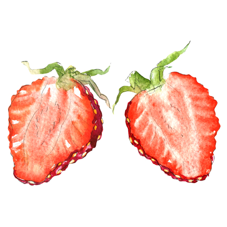 Fresh strawberry slice, half berry, isolated, watercolor illustration on white Stock Photo
