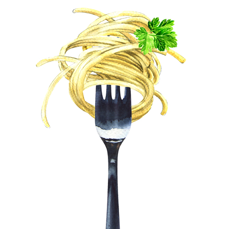 Fork with spaghetti, noodles, pasta, green parsley, isolated, watercolor illustration Stock Photo