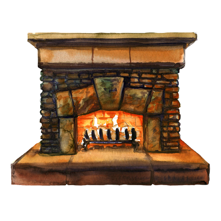 mantel: Stone bricks home family fireplace with flame, hearth with burning fire, watercolor illustration Stock Photo