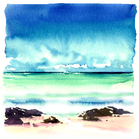 Beautiful tropical beach with rocks in the water, seascape, sea landscape, blue sky, marine view, caribbean sea coast line, watercolor illustration