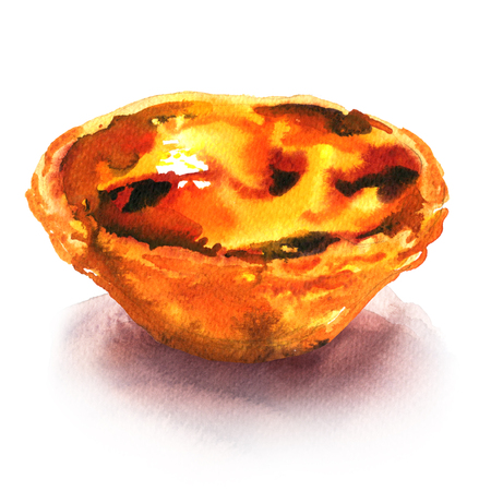 Traditional portuguese Pasteis de Belem de nata, delicious dessert, tart sweet, isolated, watercolor illustration on white Imagens
