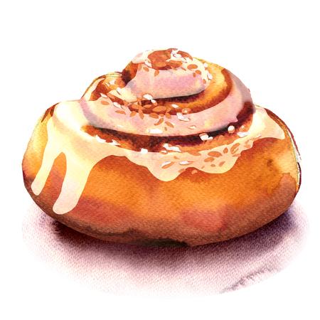 Fresh homemade cinnamon rolls, sweet bun, dessert isolated, watercolor illustration on white 스톡 콘텐츠