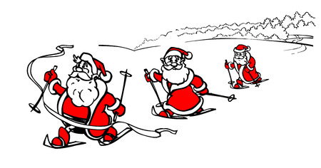 Cartoon skiing Santa Claus winner, cross country ski race, cross-country ski winter competitors, vector illustration Illustration