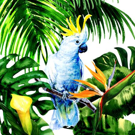 Mooie witte Kaketoe, kleurrijke grote papegaai in jungle regenwoud, exotische bloemen en bladeren, aquarel illustratie