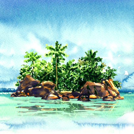 Amazing tropical island with palm trees, rocks from the sea, Maldivian atoll in ocean, panorama, watercolor illustration