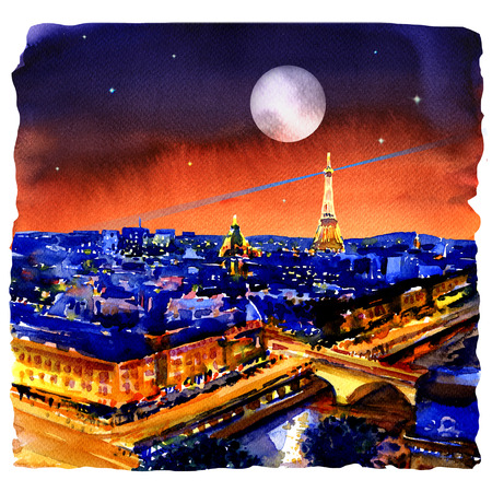 Night panorama of Paris skyline, Eiffel tower, beautiful view from Montparnasse, France, watercolor illustration