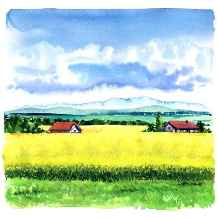 Village landscape with green field and country houses, hand drawn watercolor illustration Фото со стока