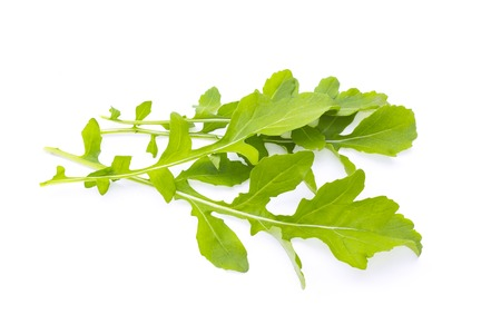 Fresh organic green rukkola, rucola or arugula, heap, salad leaves, isolated on white background Reklamní fotografie
