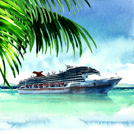 Luxury large cruise ship sailing from port, view from exotic tropical island with palm tree, travel, panoramic landscape, hand drawn watercolor illustration, white background Stock Photo