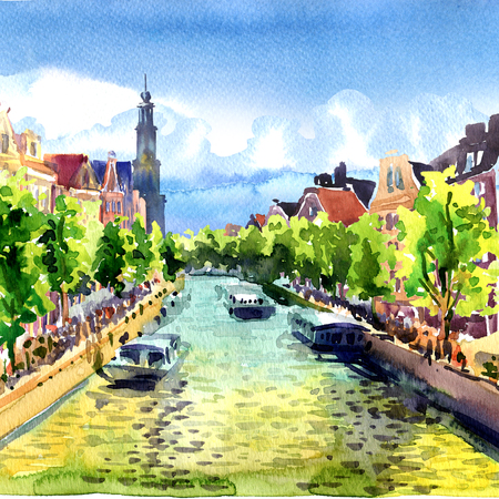 Traditional old buildings and boats on Amsterdam Canal, landscape, Holland, Netherlands, Europe, watercolor illustration Stock Photo