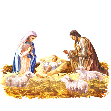 Christmas Crib, Holy Family, Christmas nativity scene with baby Jesus, Mary and Joseph in the manger with sheeps, Christian Catholic religious card, isolated, hand drawn watercolor illustration