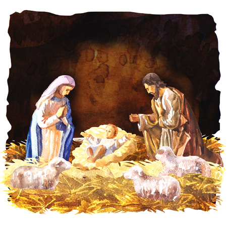 Traditional Christmas Crib, Holy Family, Christmas nativity scene with baby Jesus, Mary and Joseph in the manger with sheeps, Christian Catholic religious card, hand drawn watercolor illustration