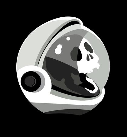 Skull in spacesuit, cosmonaut helmet, cosmonaut head, dead astronaut in outer space, vector, symbol, icon, logo, space travel, graphic vector illustration